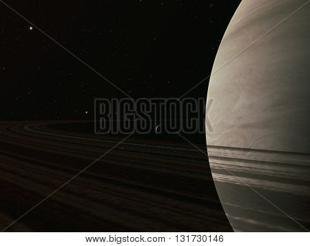planet Saturn along with its satellites in space, close-up 3D rendering