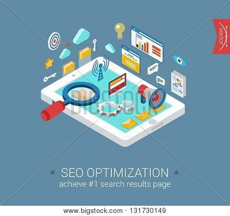Flat 3d isometric seo optimization tablet computer template