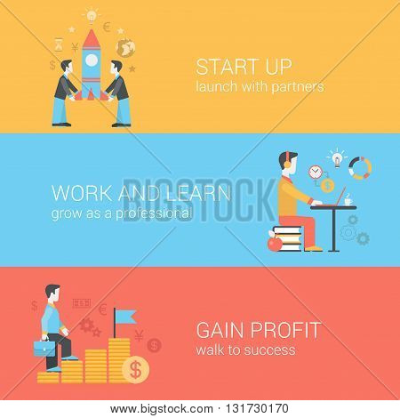 Start up, work and learn, gain profit flat web vector templates