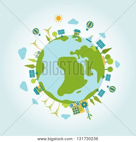 Eco green energy planet world globe modern flat style template