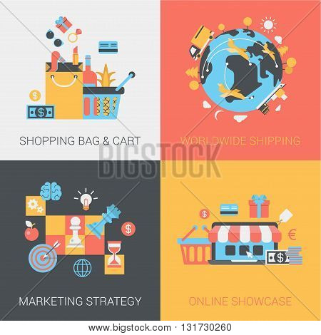 Shopping, shipping, marketing strategy and online store flat set