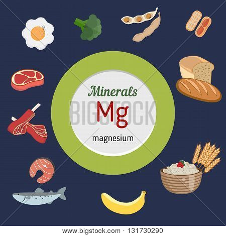 Minerals Mg and vector set of minerals Mg rich foods. Healthy lifestyle and diet concept. Magnesium.