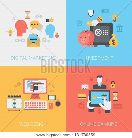Digital marketing investments web design online banking concept