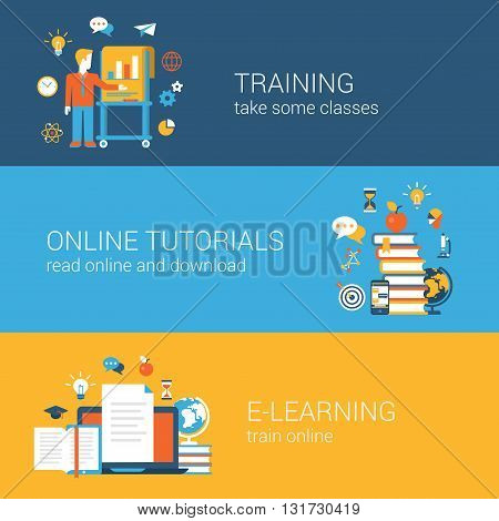 Flat education, training, online tutorial, e-learning concept