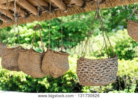 Korea's traditional basketwork. asia attractive basketwork landscape.