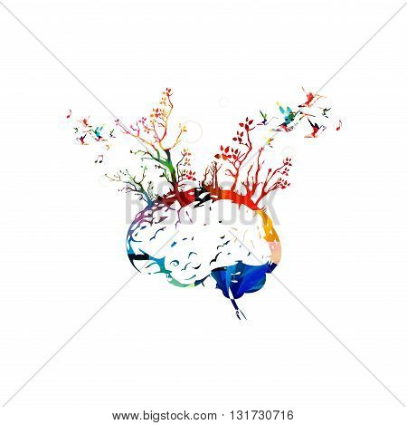 Colorful human brain with trees, brainstorming concept