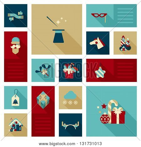 Christmas New Year icon vector set flat style