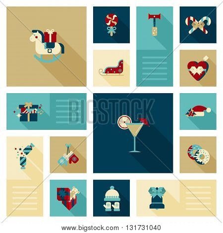 Flat modern style winter holidays web icon vector set decoration