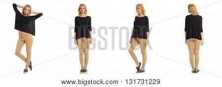 Full Length Portrait Of Beautiful Women In Pants
