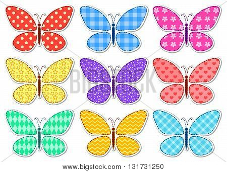 Set of cute stickers with a patchwork butterflies for children. Vector illustration. Isolated on white.