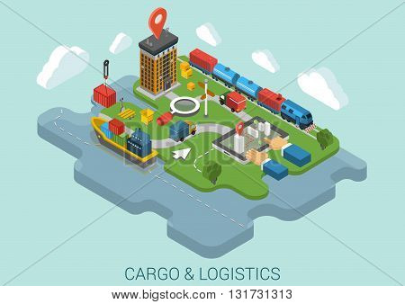 Cargo delivery business flat 3d isometric concept vector