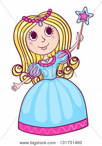 Cute little princess. Cartoon children illustration. Isolated on white.