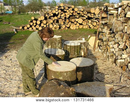 Sawmill-the unique flavor of the wood chips and warm , rough texture of fresh saw cut at the village sawmill