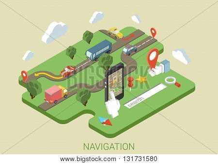 Flat map mobile GPS navigation, transport, roads 3d isometric