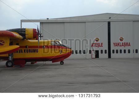 ANKARA-TURKEY-MAY 6 : Firefighter aircraft Canadair CL-215 at the Turkish Air Association-THK's Etimesgut Airport apron. May 6, 2012-Ankara/Turkey