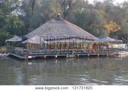 BELGRADE/SERBIA-OCTOBER 23, 2015: Wickerwork building near the Sava River. October 23, 2015-Belgrade/Serbia