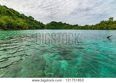 Transparent Sea, Dramatic Sky, Traditional Culture And Green Forest In The Remote Malenge Beach, Tog