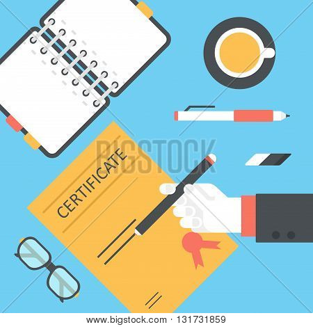 Desktop certificate signing hands flat vector top view workplace