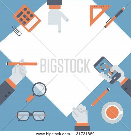 Project management, business research idea flat vector workplace