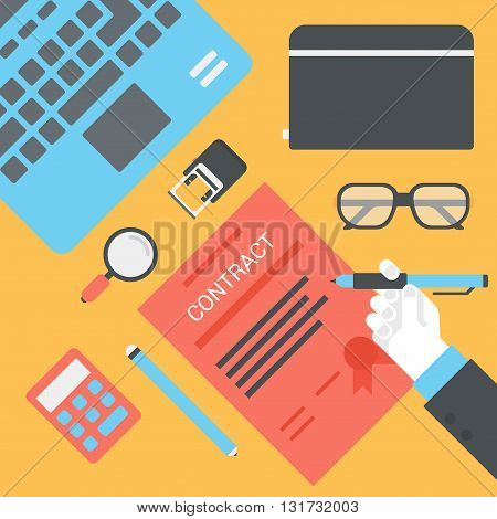 Business opportunity contract supply flat vector workplace