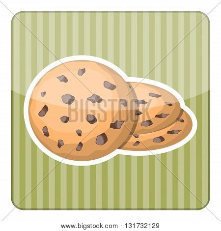 Biscuit colorful icon. Biscuit cracker with simple gradients