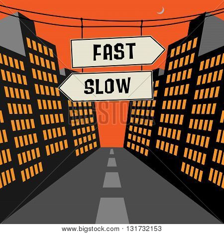 Road sign with opposite arrows and text Fast - Slow, vector illustration