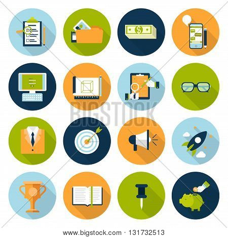Flat web infographic online business concept icon set