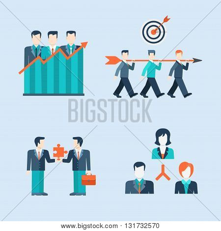 Team work, partnership, business man icons flat vector template