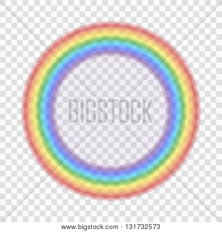 Rainbow icon. Shape circle realistic isolated on transparent background. Colorful light and bright design element for decorative. Symbol of rain sky clear nature. Graphic object Vector illustration