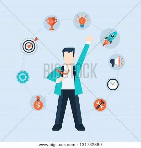 Flat style modern businessman leadership time management concept