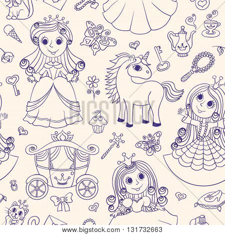 Seamless pattern with princesses. Scribble cartoon background for children.