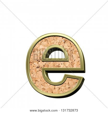 One lower case letter from white with gold shiny frame alphabet set, isolated on white. 3D illustration.