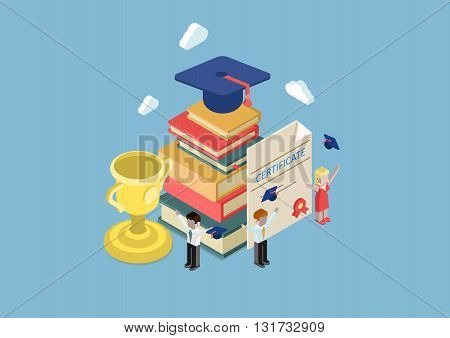 Flat 3d isometric education infographic concept vector