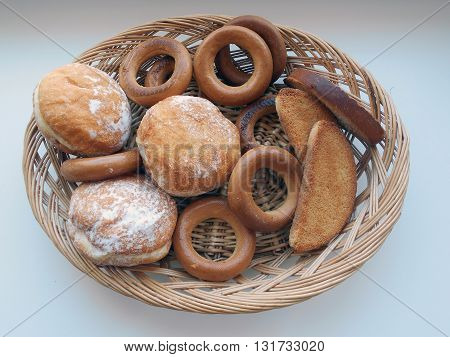 Donuts, bagels, crackers, toasts, crackers Bakery products. Products of Belarusian cuisine.