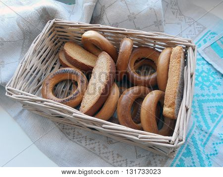 Bagels, crackers, toasts, crackers. Traditional products of the Belarusian cuisine. Served guests for tea.