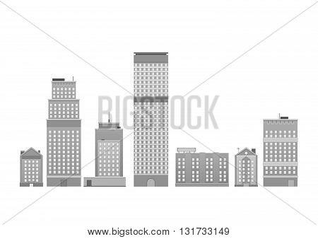 Modern Metropolis City Skyscrapers Skyline gray color