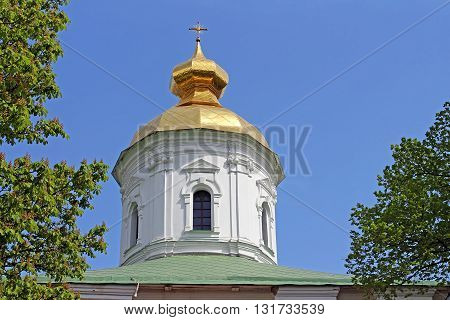 Domes of St. Michael Cathedral of Vydubychi Monastery, Kyiv, Ukraine. The cathedral was built in the years 1070-1088 Vsevolod Yaroslavich the son of Yaroslav the Wise.
