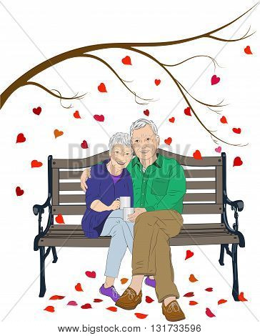 A vector illustration of an elderly man and woman sitting together on a bench, the man has his arm around the woman, each is holding a cup of coffee.  In the background is a tree with heart shaped leaves falling.