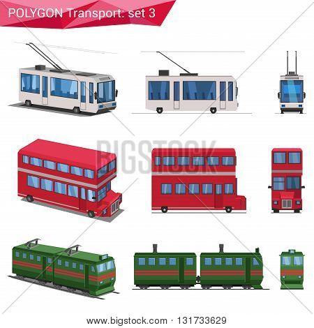 Polygonal vector transport: trolley, double decker bus, train