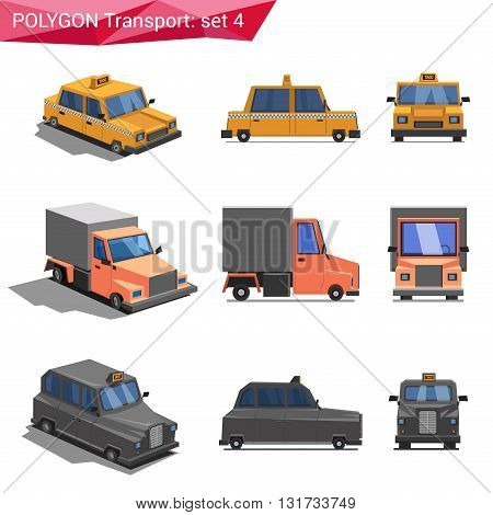 Polygonal vector transport icon set: taxi, truck, cab