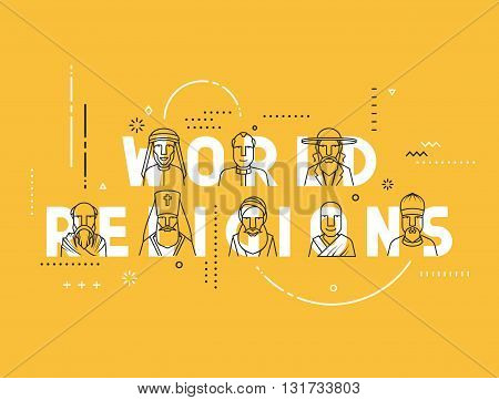 Modern vector illustration concepts religious people confession man. Flat design banners for website and mobile website. Characters men religious.