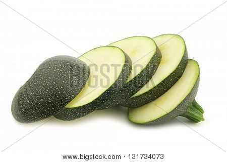 fresh round zucchini slices  on a white background