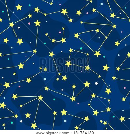 Seamless cartoon pattern with constellation. Vector children background.