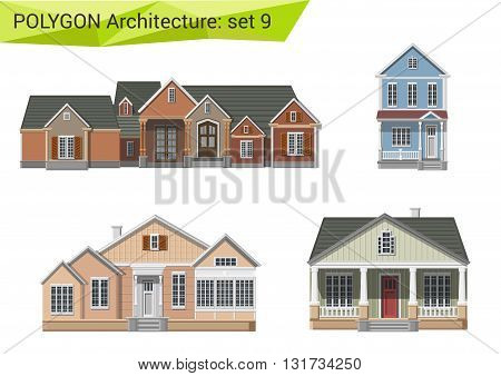 Polygonal vector houses and buildings: countryside and suburb