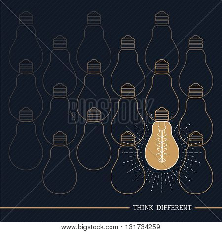 Vintage bulb think different on dark striped background