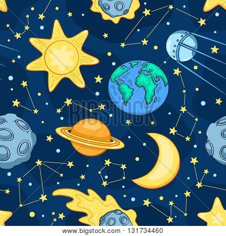 Cartoon space seamles pattern. Children vector background.
