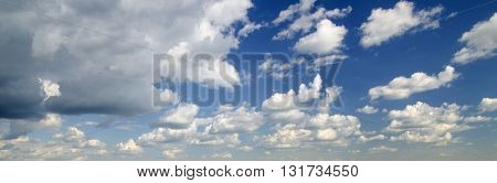 Sky panorama with stormy clouds natural aerial view background