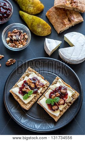 Bread With Camembert Cheese And Jam