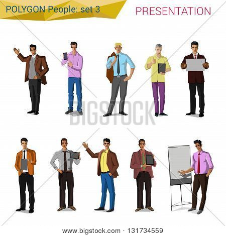 Polygonal style presentation people set. Polygon people collection.