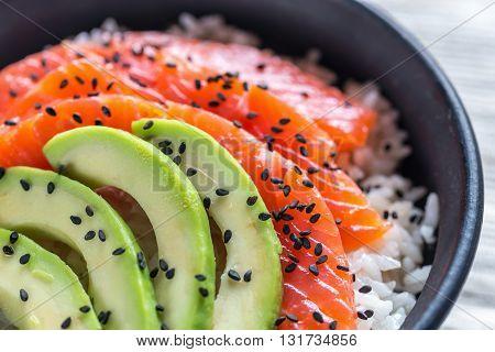 White Rice With Salmon And Avocado
